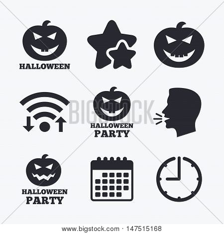 Halloween pumpkin icons. Halloween party sign symbol. All Hallows Day celebration. Wifi internet, favorite stars, calendar and clock. Talking head. Vector