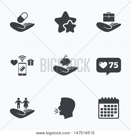 Helping hands icons. Protection and insurance symbols. Financial money savings, health medical insurance. Human couple life sign. Flat talking head, calendar icons. Stars, like counter icons. Vector