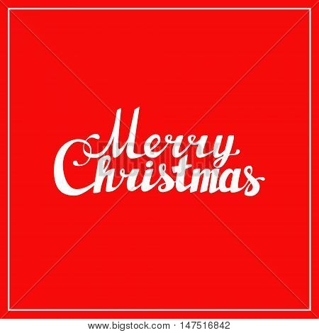 Holidays hand lettering words merry christmas caligraphy on red background