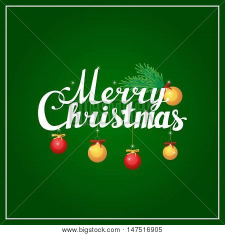 Postacrd with Holidays hand lettering words merry christmas caligraphy on red background