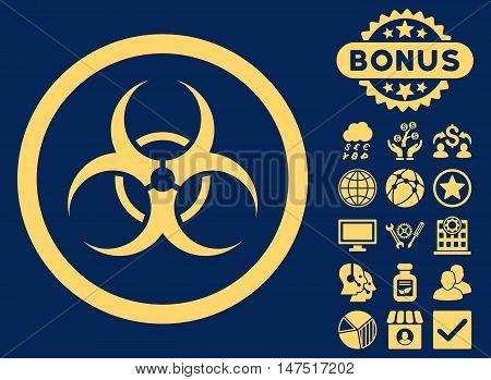 Bio Hazard icon with bonus elements. Vector illustration style is flat iconic symbols, yellow color, blue background.