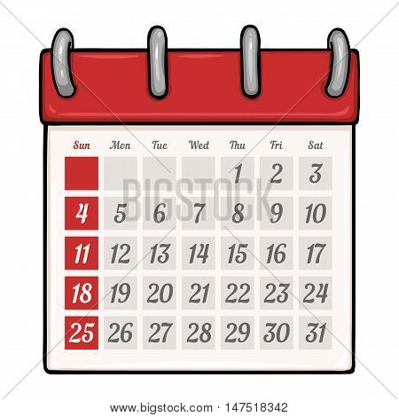 Vector Cartoon Loose-leaf Calendar