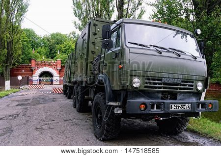 BALTIYSK, RUSSIA - AUGUST 22, 2016: Russian Army Trucks KamAZ in the Front of the Pillau Citadel on August 22, 2016 in in Baltiysk, Kaliningrad Region, Russia. A Military Unit is Stationed in the Fortress.
