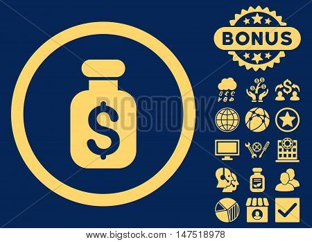 Business Remedy icon with bonus pictures. Vector illustration style is flat iconic symbols, yellow color, blue background.