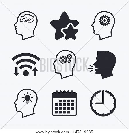 Head with brain and idea lamp bulb icons. Male human think symbols. Cogwheel gears signs. Wifi internet, favorite stars, calendar and clock. Talking head. Vector