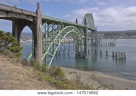 Yaquina Bay Bridge in Newport Oregon historic landmark.