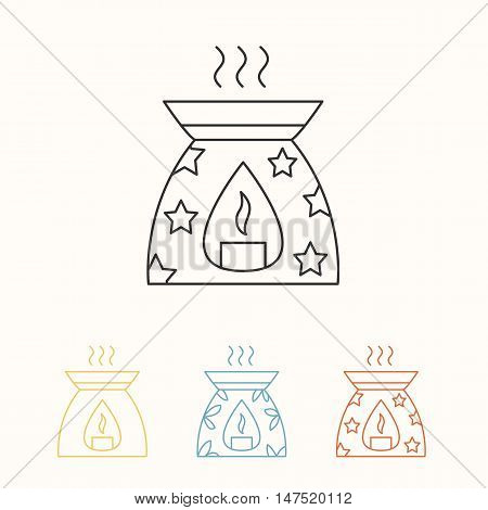 Modern vector line icon of oil burner. Essential oils shop linear logo. Outline symbol for aromatherapy store. Elements - oil candle smoke aroma. Oil burner simple sign for spa salon.