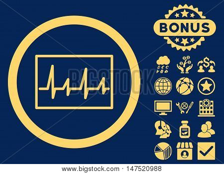 Cardiogram icon with bonus images. Vector illustration style is flat iconic symbols, yellow color, blue background.