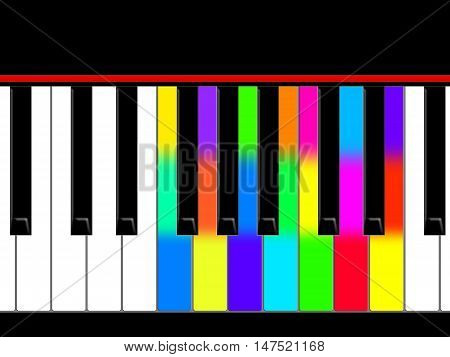 White, black and multicolored keys of the piano