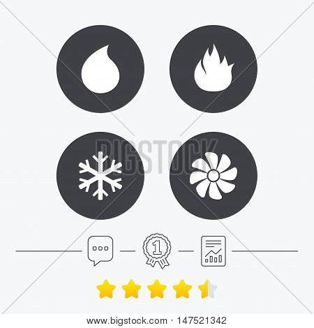 HVAC icons. Heating, ventilating and air conditioning symbols. Water supply. Climate control technology signs. Chat, award medal and report linear icons. Star vote ranking. Vector