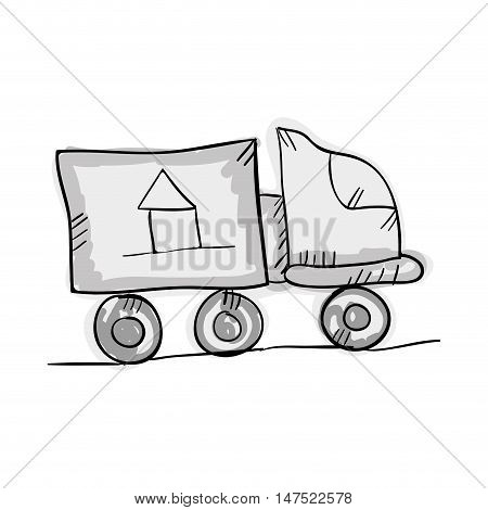 moving truck transport vehicle .draw desing. vector illustration