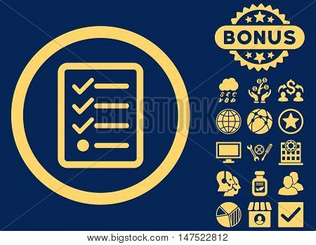 Checklist icon with bonus pictures. Vector illustration style is flat iconic symbols, yellow color, blue background.