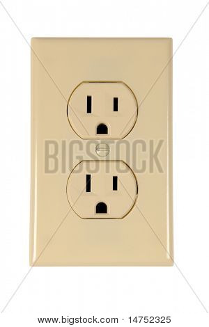 electrical outlet isolated over white background - With Clipping Path