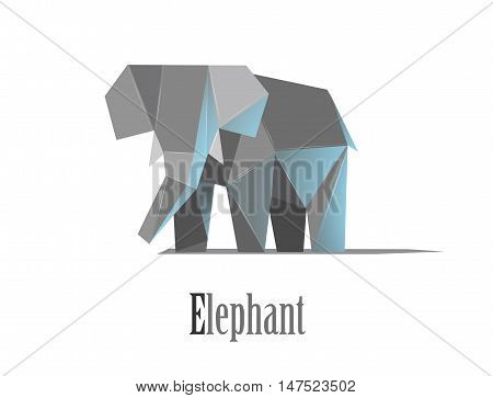 Geometric elephant illustration in polygonal style. Elephant low poly. African mammal. Animal triangle icon. African elephant. Modern isolated object