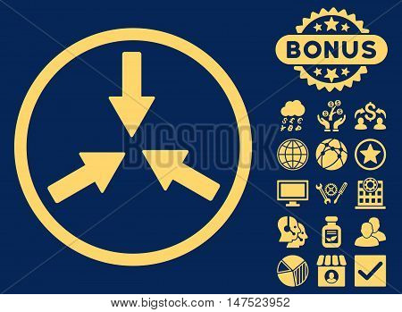 Collide Arrows icon with bonus design elements. Vector illustration style is flat iconic symbols, yellow color, blue background.