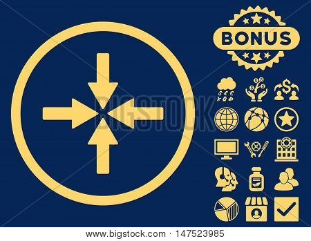 Collide Arrows icon with bonus images. Vector illustration style is flat iconic symbols, yellow color, blue background.