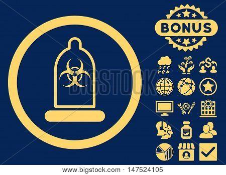 Condom Biohazard icon with bonus design elements. Vector illustration style is flat iconic symbols, yellow color, blue background.