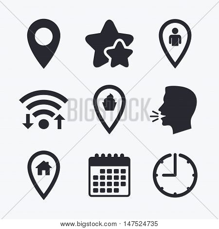Map pointer icons. Home, food and user location symbols. Restaurant and cupcake signs. You are here. Wifi internet, favorite stars, calendar and clock. Talking head. Vector
