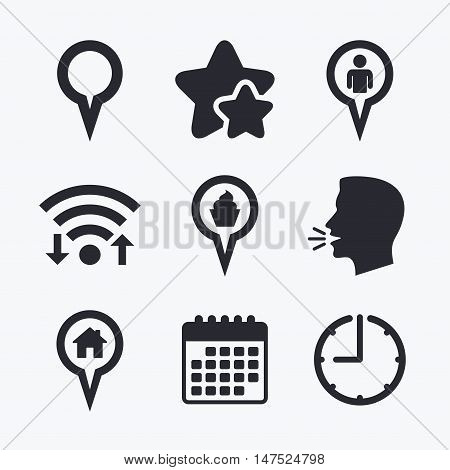 Map circle pointer icons. Home, food and user location symbols. Restaurant and cupcake signs. You are here. Wifi internet, favorite stars, calendar and clock. Talking head. Vector