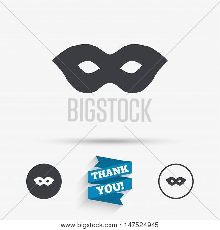 Mask sign icon. Anonymous spy access symbol. Flat icons. Buttons with icons. Thank you ribbon. Vector