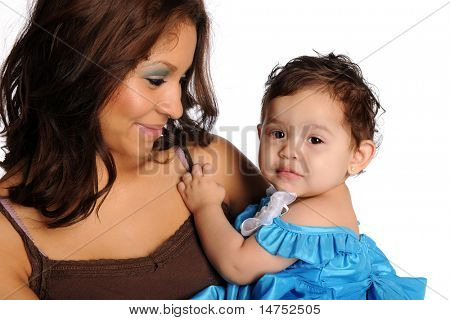 Hispanic mother and daughter isolated over white background