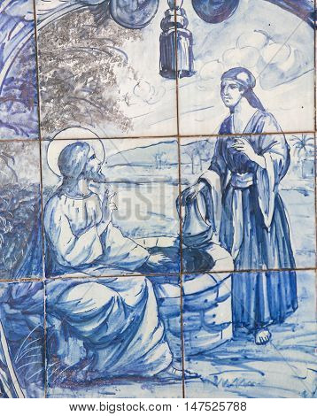 Azulejo - Jesus And The Samaritan Woman At The Well