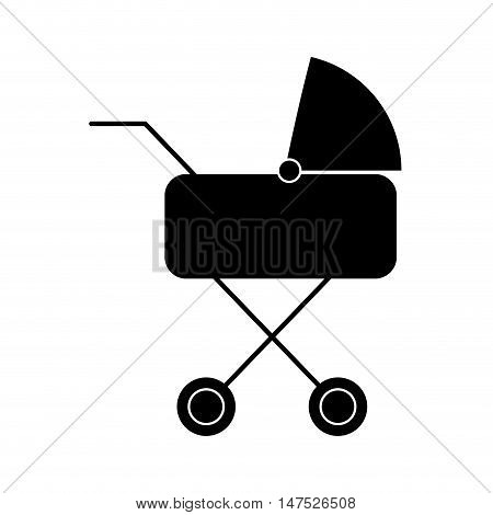baby carriage. newborn stroller object silhouette. vector illustration