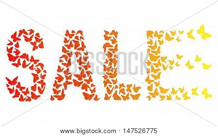 decorative inscription SALE With Red And Yellow Butterflies