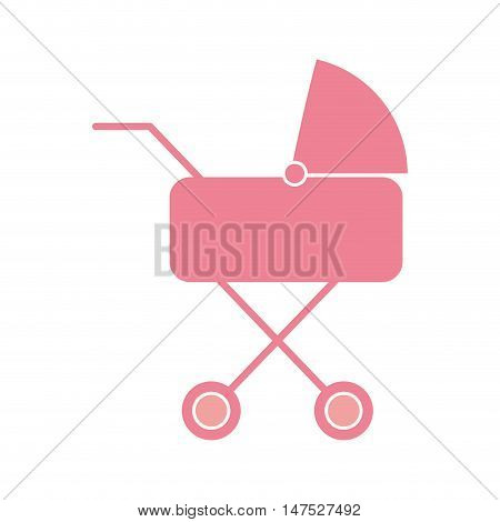baby pink carriage. newborn stroller object. vector illustration