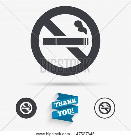 No Smoking sign icon. Cigarette symbol. Flat icons. Buttons with icons. Thank you ribbon. Vector