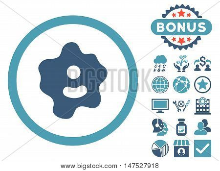 Ameba icon with bonus elements. Vector illustration style is flat iconic bicolor symbols, cyan and blue colors, white background. poster