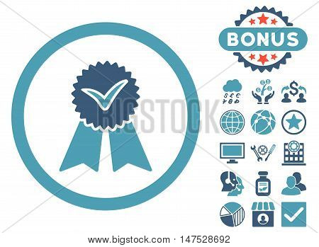 Approvement Seal icon with bonus elements. Vector illustration style is flat iconic bicolor symbols, cyan and blue colors, white background.
