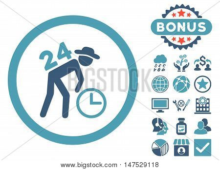 Around the Clock Work icon with bonus elements. Vector illustration style is flat iconic bicolor symbols, cyan and blue colors, white background.