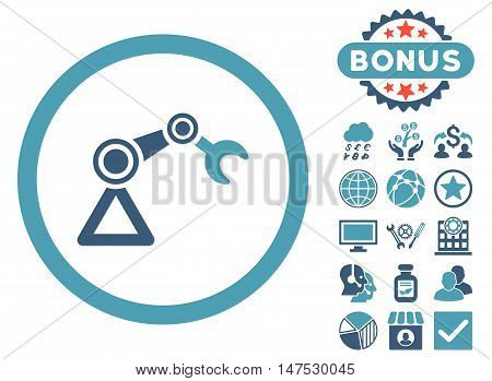 Artificial Manipulator icon with bonus elements. Vector illustration style is flat iconic bicolor symbols, cyan and blue colors, white background.