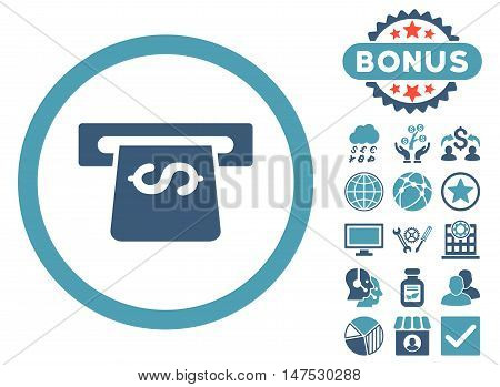 Atm icon with bonus elements. Vector illustration style is flat iconic bicolor symbols, cyan and blue colors, white background. poster