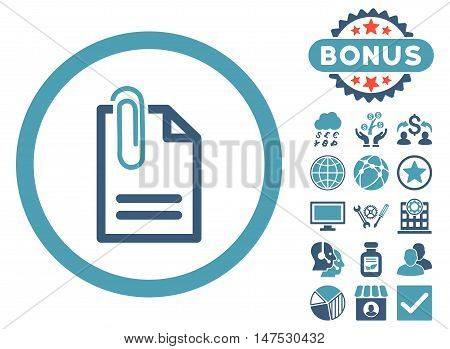 Attach Document icon with bonus design elements. Vector illustration style is flat iconic bicolor symbols, cyan and blue colors, white background.