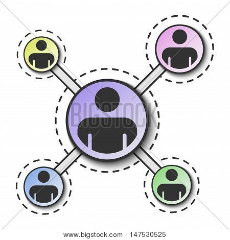 Social network network. People connection. Social media. Vector illustration