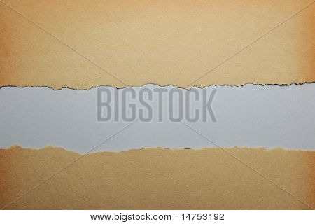 Old ripped paper with gray color background