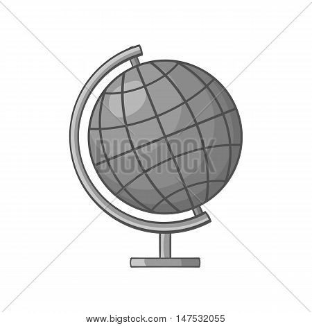 Globe icon in black monochrome style isolated on white background. Geography symbol vector illustration