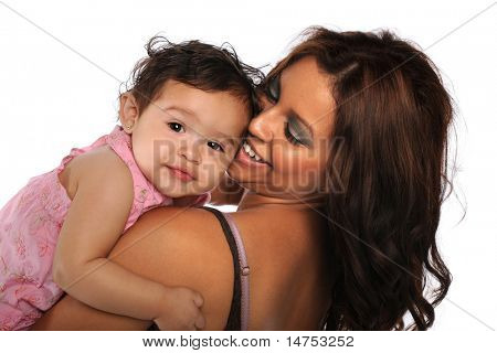 Hispanic mother and daughter smiling isolated over white background