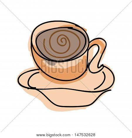 coffee mug beverage. caffeine drink drawn design. vector illustration