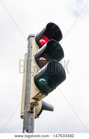 Stoplight Traffic Red Glowing Green Yellow Isolated White Background Object