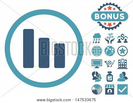 Bar Chart Decrease icon with bonus images. Vector illustration style is flat iconic bicolor symbols, cyan and blue colors, white background.