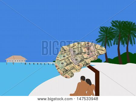 Couple Sitting Under a Parasol covered with money