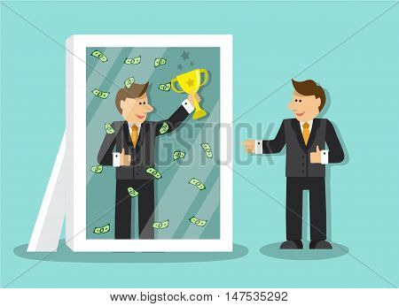 businessman looks at himself in the mirror and sees that it is a success and a lot of money and holding a gold cup
