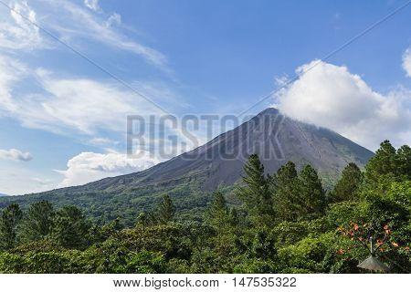 view of the Volcan Arenal in San carlos Costa Rica in the green season a well know beautiful landmark