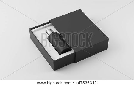 Black Perfume Bottle In White And Black Box