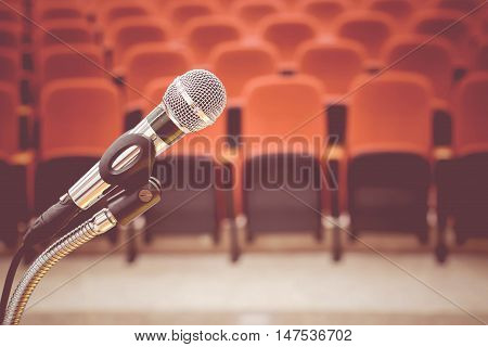 A Microphone in auditorium in vintage tone