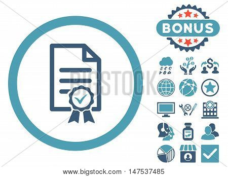 Certified icon with bonus elements. Vector illustration style is flat iconic bicolor symbols, cyan and blue colors, white background.