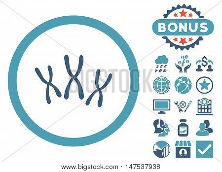 Chromosomes icon with bonus design elements. Vector illustration style is flat iconic bicolor symbols, cyan and blue colors, white background.